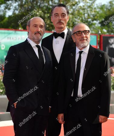 Javier Camara (L), Italian actor Maurizio Lombardi (C) and Italian actor Silvio Orlando arrive for a premiere of 'The new Pope (Episodi 2 e 7)' during the 76th annual Venice International Film Festival, in Venice, Italy, 01 September 2019. The movie is presented in out of competition at the festival running from 28 August to 07 September.
