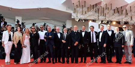 Cecile de France, Russian actress Yulia Snigir, French actress Ludivine Sagnier, British actor Jude Law, a guest, Italian actor Massimo Ghini, a guest, Italian actor Silvio Orlando, US actor John Malkovich, a guest, Italian filmmaker Paolo Sorrentino, a guest, Italian actor Maurizio Lombardi, Spanish actor Javier Camara and US-Italian actor Tomas Arana arrive for a premiere of 'The new Pope (Episodi 2 e 7)' during the 76th annual Venice International Film Festival, in Venice, Italy, 01 September 2019. The movie is presented in out of competition at the festival running from 28 August to 07 September.