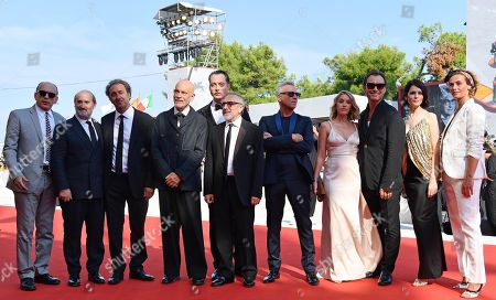 Tomas Arana, Spanish actor Javier Camara, Italian filmmaker Paolo Sorrentino, US actor John Malkovich, Italian actor Maurizio Lombardi, Italian actor Silvio Orlando, Italian actor Massimo Ghini, French actress Ludivine Sagnier, British actor Jude Law, Russian actress Yulia Snigir and Belgian actress Cecile de France arrive for a premiere of 'The new Pope (Episodi 2 e 7)' during the 76th annual Venice International Film Festival, in Venice, Italy, 01 September 2019. The movie is presented in out of competition at the festival running from 28 August to 07 September.