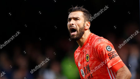 Wolverhampton Wanderers' goalkeeper Rui Patricio looks on during the English Premier League soccer match between Everton and Wolverhampton Wanderers at Goodison Park in Liverpool, England