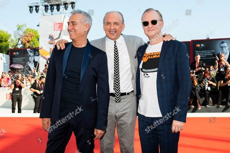 Stock Photo of Massimo Ghini, Tomas Arana, Ulrich Thomsen. Actors Massimo Ghini, from left, Tomas Arana and Ulrich Thomsen pose for photographers upon arrival at the premiere of the film 'The New Pope' at the 76th edition of the Venice Film Festival, Venice, Italy