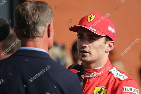 #16 Charles LeClerc MON  Scuderia FERRARI interviewed by David Coulthard after taking his maiden F1 victory  during the Formula 1 Johnnie Walker Belgian Grand Prix 2019 at Circuit De Spa-Francorchamps, Spa