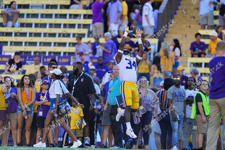 LSU Tigers cornerback Lloyd Cole (34) warms up before the game against Georgia Southern Eagles on , at the Tiger Stadium in Baton Rouge, LA