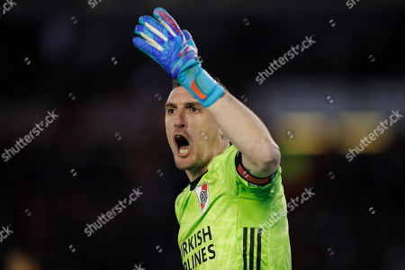 River Plate's goalkeeper Franco Armani gestures during an Argentine first division soccer game against Boca Juniors in Buenos Aires, Argentina