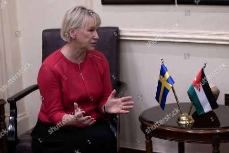 The Minister for Foreign Affairs of Sweden Margot Wallstrom talks with the Jordanian Foreign Minister Ayman Safadi during her visit at the Foreign Ministry in Amman, Jordan, 01 September 2019. Wallstrom is on a Middle East Tour to relaunch the Yemen talks.
