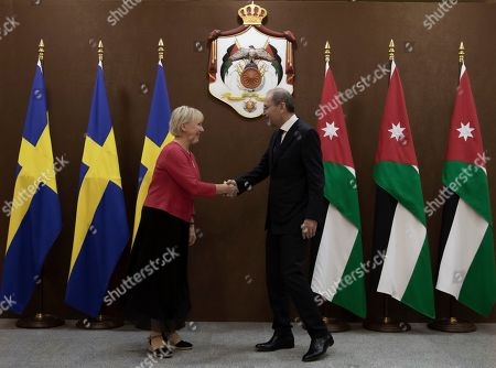 The Minister for Foreign Affairs of Sweden Margot Wallstrom (L) shakes hands with the Jordanian Foreign Minister Ayman Safadi during her visit at the Foreign Ministry in Amman, Jordan, 01 September 2019. Wallstrom is on a Middle East Tour to relaunch the Yemen talks.
