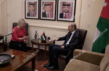 The Minister for Foreign Affairs of Sweden Margot Wallstrom (L) talks with the Jordanian Foreign Minister Ayman Safadi during her visit at the Foreign Ministry in Amman, Jordan, 01 September 2019. Wallstrom is on a Middle East Tour to relaunch the Yemen talks.