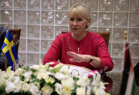 The Minister for Foreign Affairs of Sweden Margot Wallstrom speaks during a meeting Jordanian Foreign Minister Ayman Safadi during her visit at the Foreign Ministry in Amman, Jordan, 01 September 2019. Wallstrom is on a Middle East Tour to relaunch the Yemen talks.