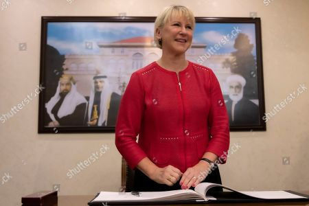 The Minister for Foreign Affairs of Sweden Margot Wallstrom smiles after signing the guest book, during her visit at the Foreign Ministry in Amman, Jordan, 01 September 2019. Wallstrom is on a Middle East Tour to relaunch the Yemen talks.