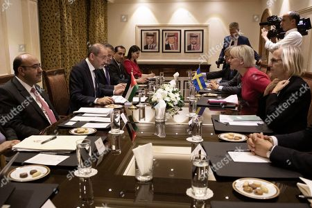 The Minister for Foreign Affairs of Sweden Margot Wallstrom (2-R) talks with the Jordanian Foreign Minister Ayman Safadi (2-L), during her visit at the Foreign Ministry in Amman, Jordan, 01 September 2019. Wallstrom is on a Middle East Tour to relaunch the Yemen talks.