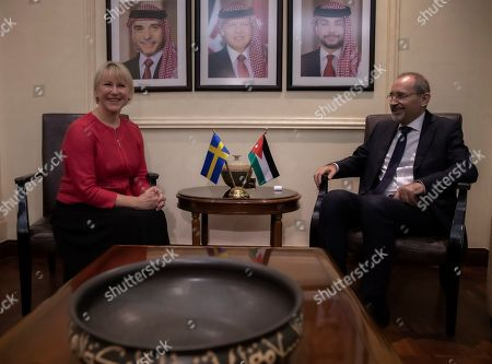 The Minister for Foreign Affairs of Sweden Margot Wallstrom smiles during a meeting with his Jordan counterpart Ayman Safadi, at the Foreign Ministry in Amman, Jordan, 01 September 2019. Wallstrom is on a Middle East Tour to relaunch the Yemen talks.