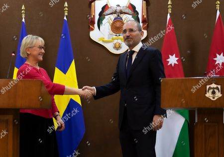 The Minister for Foreign Affairs of Sweden Margot Wallstrom (L) shakes hands with his Jordan counterpart Ayman Safadi during her visit at the Foreign Ministry in Amman, Joedan, 01 September 2019. Wallstrom is on a Middle East Tour to relaunch the Yemen talks.