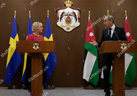 The Minister for Foreign Affairs of Sweden Margot Wallstrom (L) and his Jordan counterpart Ayman Safadi during a statement given at the Foreign Ministry in Amman, Jordan, 01 September 2019. Wallstrom is on a Middle East Tour to relaunch the Yemen talks.