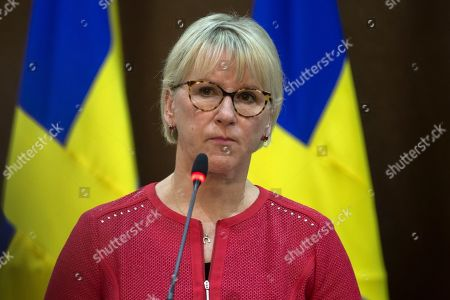 The Minister for Foreign Affairs of Sweden Margot Wallstrom looks on during a short statement given with his  Jordanian counterpart Ayman Safadi, at the Foreign Ministry in Amman, Jordan, 01 September 2019.  Wallstrom is on a Middle East Tour to relaunch the Yemen talks.