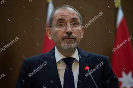 Jordanian Foreign Minister Ayman Safadi speaks during a short statement given with the Minister for Foreign Affairs of Sweden Margot Wallstrom, at the Foreign Ministry in Amman, Jordan, 01 September 2019. Wallstrom is on a Middle East Tour to relaunch the Yemen talks.