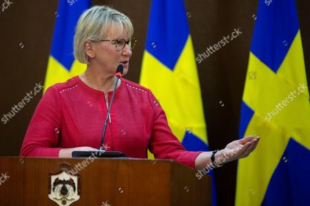 Stock Image of The Minister for Foreign Affairs of Sweden Margot Wallstrom looks on during a short statement given with his  Jordanian counterpart Ayman Safadi, at the Foreign Ministry in Amman, Jordan, 01 September 2019.  Wallstrom is on a Middle East Tour to relaunch the Yemen talks.