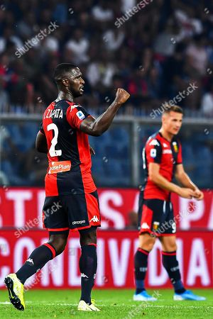 Genoa's Colombian defender Cristian Zapata (L) celebrates after scoring the 1-0 lead during the Italian Serie A soccer match between Genoa CFC and ACF Fiorentina at Luigi Ferraris Stadium in Genoa, Italy, 01 September 2019.