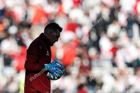 River Plate's goalkeeper Franco Armani warms up before the encounter between Boca Juniors and River Plate for the Argentine Super League held at the Monumental Stadium in Buenos Aires, Argentina, 01 September 2019.