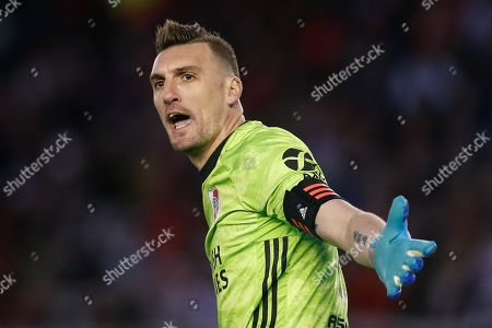 River Plate's goalkeeper Franco Armani reacts during a game of the Superliga Argentina, at the Monumental Stadium in Buenos Aires, Argentina, 01 September 2019.