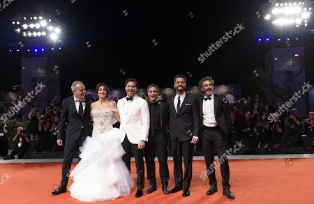 Olivier Assayas, Spanish actress Penelope Cruz, Venezuelan actor Edgar Ramirez, Mexican actor Gael Garcia Bernal, Brazilian actor Wagner Moura and Argentinian actor Leonardo Sbaraglia arrive for the premiere of 'Wasp Network ' during the 76th annual Venice International Film Festival, in Venice, Italy, 01 September 2019. The movie is presented in the official competition 'Venezia 76' at the festival running from 28 August to 07 September.