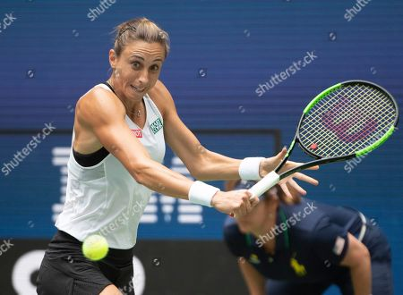 Petra Martic (CRO) loses to Serena Williams (USA) 6-3, 6-4, at the US Open being played at Billie Jean King National Tennis Center in Flushing, Queens, NY. ©Jo Becktold/CSM