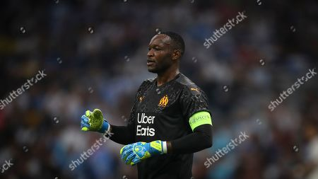 Marseille's goalkeeper Steve Mandanda looks for the ball during the French League One soccer match between Marseille and Saint-Étienne at the Velodrome stadium in Marseille, southern France