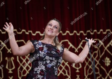 Stock Photo of German operatic soprano, Diana Damrau performs on the stage of the Romanian Athenaeum concert hall during the George Enescu International Festival 2019, in Bucharest, Romania, 01 September 2019. The festival, held since 1958 every two years, is the biggest classical music festival held in Romania, in honor of Romanian composer and violinist George Enescu. The 24th edition of the George Enescu International Festival takes place between 31 August and 22 September 2019.