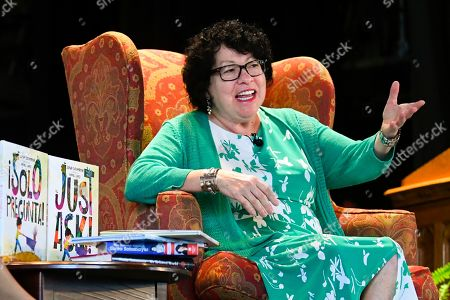 "U.S. Supreme Court Justice Sonia Sotomayor addresses attendees of an event promoting her new children's book ""Just Ask!"" in Decatur, Ga"
