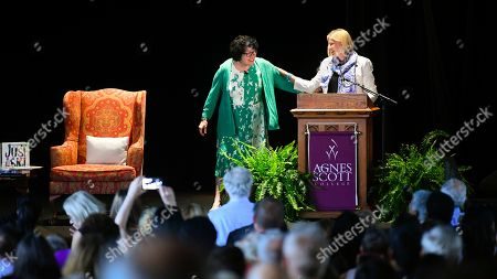 "U.S. Supreme Court Justice Sonia Sotomayor, left, is introduced by Agnes Scott College President Leocadia I. Zak during an event in connection with her new children's book ""Just Ask!"", in Decatur, Ga"