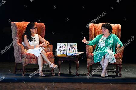 "U.S. Supreme Court Justice Sonia Sotomayor talks with fellow author Celia Pérez, left, during of an event promoting her new children's book ""Just Ask!"" about kids with life challenges including diabetes, which she also has, held, in Decatur, Ga"