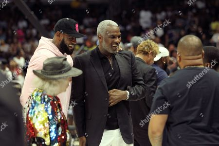 LeBron James and Charles Oakley