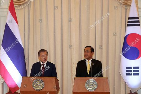 Moon Jae-in, Prayuth Chan-ocha. South Korean President Moon Jae-in, left, and Thailand's Prime Minister Prayuth Chan-ocha attend the joint press conference at the government house in Bangkok, Thailand