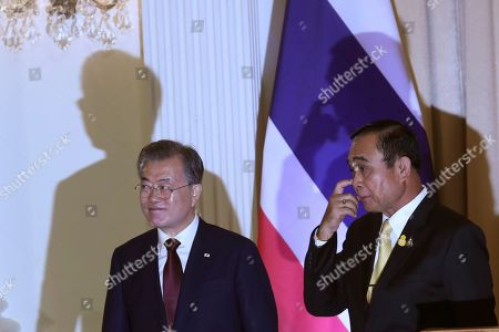 Moon Jae-in, Prayuth Chan-ocha. South Korean President Moon Jae-in, left, and Thailand's Prime Minister Prayuth Chan-ocha leave after joint press conference at the government house in Bangkok, Thailand