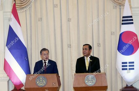 South Korean President Moon Jae-in (L) and Thailand's Prime Minister Prayuth Chan-ocha (R) take part in a joint press conference at the Government House of Thailand in Bangkok, Thailand, 02 September 2019. Moon is on a three-nation t?rip to Southeast Asia where he will visitsThailand, Myanmar, Laos.
