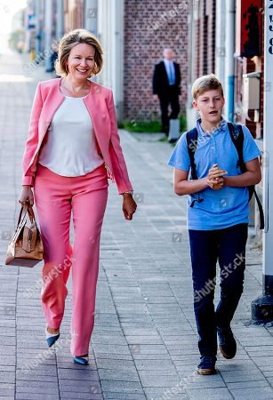 Prince Emmanuel first day back at school, Leuven