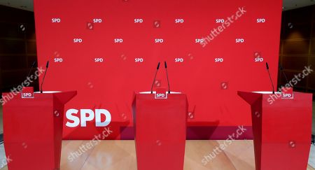 The empty podium is pictured prior to a press conference of Dietmar Woidke, top candidate of Brandenburg's Social Democratic Party (SPD), Manuela Schwesig, acting co-chairwomen of the German Social Democratic Party (SPD) and Martin Dulig, top candidate of Saxony's Social Democratic Party (SPD), in Berlin, Germany, one day after the federal state elections in the German states of Saxony and Brandenburg