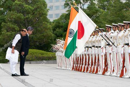 Stock Picture of Japanese Defense Minister Takeshi Iwaya, Defense Minister of India Rajnath Singh