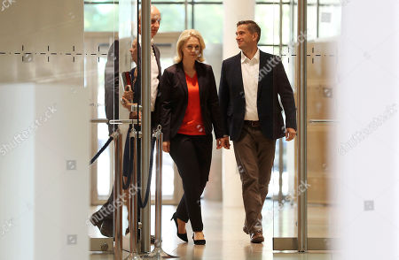 (L-R) Brandenburg Premier and chairman of the Social Democratic Party (SPD) Dietmar Woidke, the interim party leadership of the SPD, Premier of Mecklenburg-Western Pomerania Manuela Schwesig and Saxony chairman and top candidate of the Social Democratic Party (SPD) Martin Dulig arrive for a press conference at the SPD's headquarters in Berlin, Germany, 02 September 2019. The SPD suffered losses in both the Brandenburg and Saxony state elections.