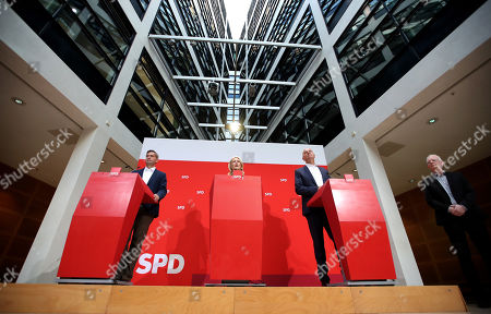 Saxony chairman and top candidate of the Social Democratic Party (SPD) Martin Dulig, the interim party leadership of the SPD, Premier of Mecklenburg-Western Pomerania Manuela Schwesig and Brandenburg Premier and chairman of the Social Democratic Party (SPD) Dietmar Woidke hold a press conference at the SPD's headquarters in Berlin, Germany, 02 September 2019. The SPD suffered losses in both the Brandenburg and Saxony state elections.