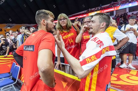 Willy Hernangomez Geuer of Spain (L) and Juancho Hernangomez of Spain (R) talk with supporters after the FIBA Basketball World Cup 2019 match between Puerto Rico and Spain in Guangzhou, China, 02 August 2019.
