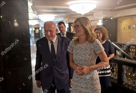 Stock Photo of Bulgarian Foreign Affairs Minister Ekaterina Zaharieva (R) with her Palestinian National Authority counterpart Riyad al-Maliki (L) in Sofia, Bulgaria, 02 September 2019. Al-Maliki is in Bulgaria on an offical visit.