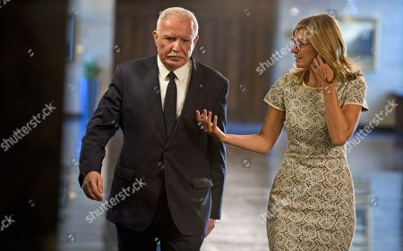 Stock Image of Bulgarian Foreign Affairs Minister Ekaterina Zaharieva (R) with her Palestinian National Authority counterpart Riyad al-Maliki (L) in Sofia, Bulgaria, 02 September 2019. Al-Maliki is in Bulgaria on an offical visit.
