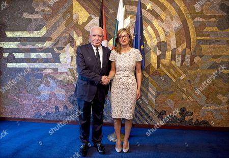 Bulgarian Foreign Affairs Minister Ekaterina Zaharieva (R) welcomes her Palestinian National Authority counterpart Riyad al-Maliki (L) in Sofia, Bulgaria, 02 September 2019. Al-Maliki is in Bulgaria on an offical visit.