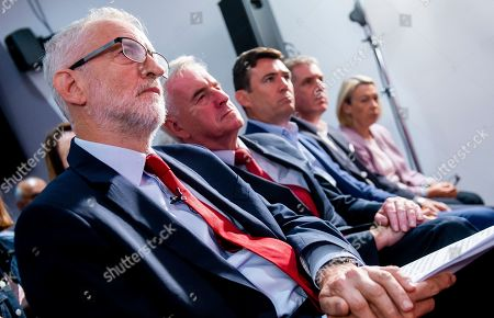 Jeremy Corbyn (L), Leader of the Labour Party, is joined by John McDonnell Shadow Chancellor of the Exchequer (C-L), Andy Burnham (C-R) and Steve Rotherham (2-R) before making a keynote speech on the day before Parliament returns, Manchester, Britain, 02 September 2019.
