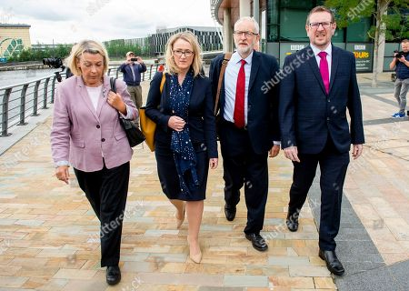 Jeremy Corbyn (2-R), leader of the British Labour Party with Rebecca Long-Bailey (2-L) Shadow Secretary of State for Business, Energy and Industrial Strategy, and Andrew Gwynne (R) Shadow Secretary of State for Communities and Local Government and Barbara Keeley (L) Labour Member of Parliament for Worsley and Eccles South, as they leave after the Labour leader made a keynote speech in Manchester, Britain, 02 September 2019. The British Parliament assembles on 03 September as members of the opposition parties join forces to prepare to introduce legislation to try and stop a No Deal Brexit on 31 October 2019.