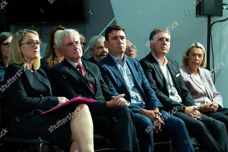 Rebecca Long-Bailey, John McDonnell, Andy Burnham and Steve Rotheram listen to Jeremy Corbyn's speech. Members of the shadow cabinet and regional devolved mayors attend a speech and Q&A by Labour Party leader Jeremy Corbyn at The Landing Media City in Salford.