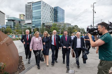 Jeremy Corbyn crosses Media City with members of the shadow cabinet including Andrew Gwynne, John McDonnell, Rebecca Long-Bailey