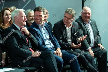 Stock Photo of John McDonnell, Andy Burnham, Steve Rotheram and Joe Anderson. Members of the shadow cabinet and regional devolved mayors attend a speech and Q&A by Labour Party leader Jeremy Corbyn at The Landing Media City in Salford.
