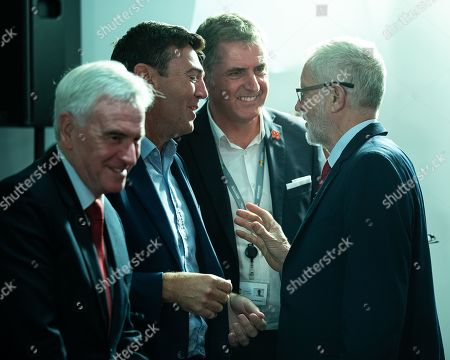 Stock Photo of John McDonnell, Andy Burnham, Steve Rotheram and Jeremy Corbyn. Members of the shadow cabinet and regional devolved mayors attend a speech and Q&A by Labour Party leader Jeremy Corbyn at The Landing Media City in Salford.