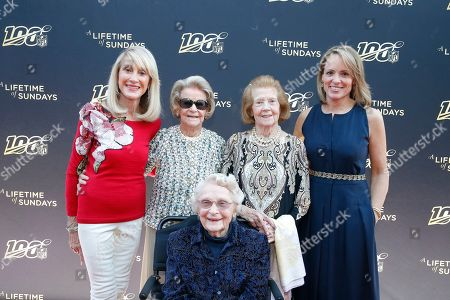 """From left, Norma Hunt, Martha Ford, Virginia McCaskey, seated, Patricia Rooney and Jane Skinner Goodell pose at the premiere of """"A Lifetime of Sundays,"""" in Phoenix, . The four NFL team owners were reticent about the project when approached by Jane Skinner Goodell, the commissioner's wife and an executive producer of the movie. Indeed, she received a polite no from each of the women, who range in age from 81 to 96"""